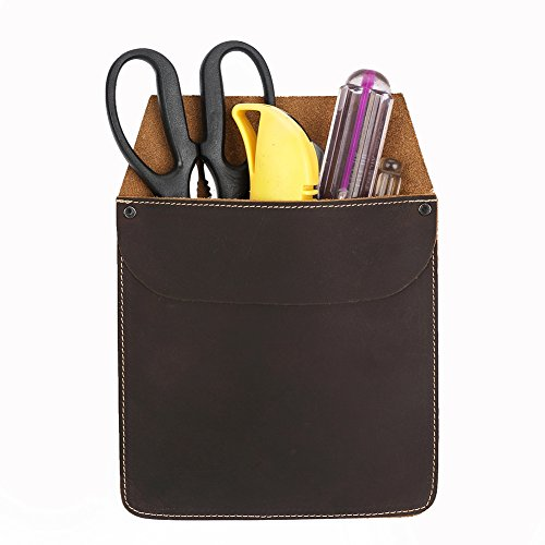 Genuine Leather Durable Work Holder Case Professional Key/Cash Tool Organizer Vintage Brown Army Green for DIY Enthusiast PB18 (brown)