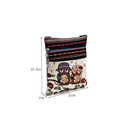 Pouch Shopping Bohemian Bag Printed OULII Bag Crossbody Satchel Vintage Canvas Bag Owl Women EqwqAPXv