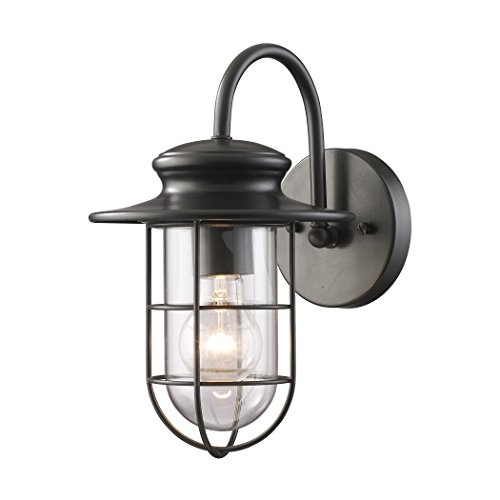 Alumbrada Collection Portside 1 Light Outdoor Wall Sconce In Matte Black (Portside Dining)