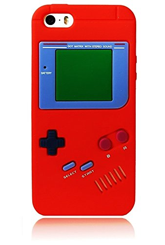 for iPhone 5 5S SE Cartoon Gameboy 3D Case, Soft Silicone Protective Case Cover for iPhone 5/5S/SE (Red) (Iphone Calculator For Case 5)