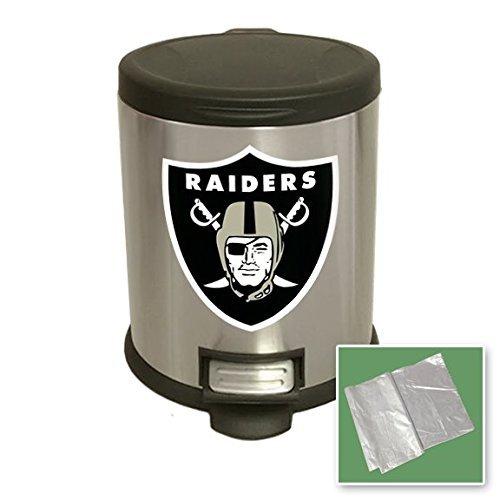 Wastebasket Raiders - Stainless Steel Step Trash Can Waste Basket featuring your Favorite Football team logo! (Raiders)