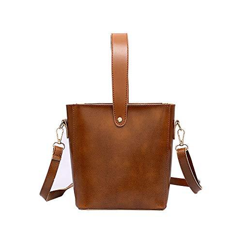 HOSOME Women Pure Color Handbag Retro Casual Wild Bucket Bag Brown