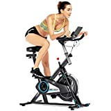 FUNMILY Indoor Cycling Bike Stationary, Silent Belt Drive Cycle Bike Exercise Bike with APP Control, Heart Rate, LCD Monitor, Adjustable Seat and Handlebars for Home Cardio Workout