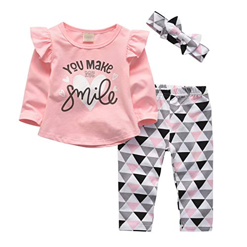 3 Pcs Baby Girl Clothes Long Sleeve Letter You Make Me Smile Tops Geometric Pants and Headband Outfit Set (6-9 Months)