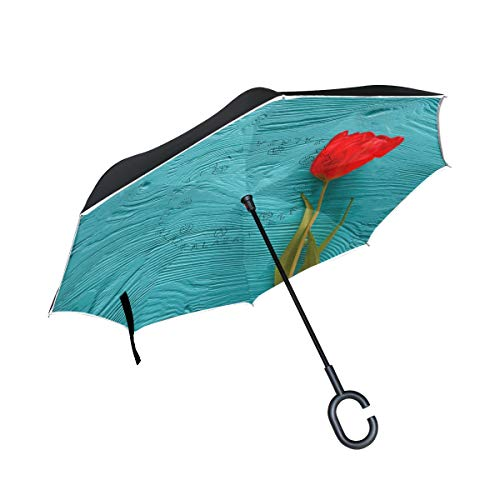 Reverse Umbrella Mother's Day Woman's Tulips On Blue Wooden Background Inverted Umbrella Reversible for Golf Car Travel Rain Outdoor Black