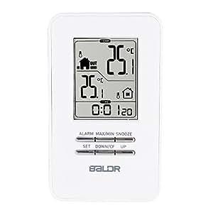 Balder en termómetro/exterior con sensor inalámbrico Big Time gráfico alarma y snooze, blanco