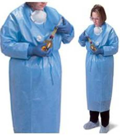 McKesson Chemotherapy Gown Chemobloc Medium Poly Coated Light Blue Adult by McKesson (Image #1)