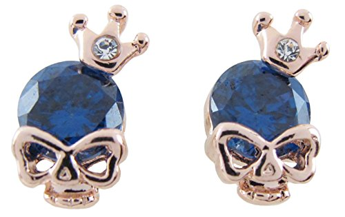 DaisyJewel Halloween Blue Crystal Crown Skull Stud -