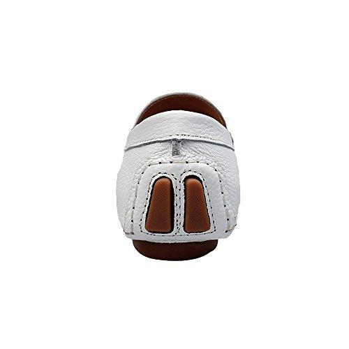 Scarpe Su Pelle Mocassini Shenn Guida Casuale Comfort Scivolare 9927 Bianco Uomo Auto IxwpUwqza