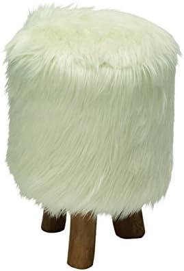 Deco 79 Wood Faux Fur Round Stool, 13 x 19 , White