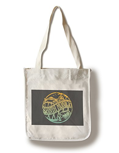 Santa Monica, California - Beach Scene - Vector (100% Cotton Tote Bag - - Monica Santa Shopping
