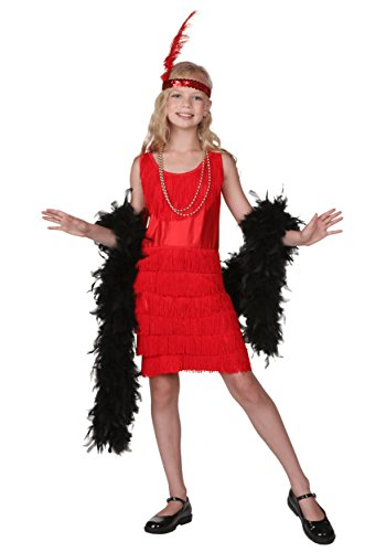 [Fun Costumes unisex-adult Big Girls' Red Fringe Flapper Costume Large] (Flapper Girl Costume For Adults)