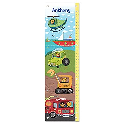 Growth Chart for Kids, Boy or Girl Height Ruler Personalized, Nursery Toddler Bedroom Playroom Decor, Trucks, Tractors, Construction, Firetruck, Digger: Baby