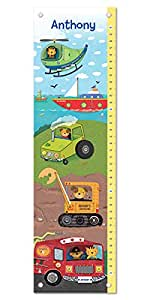 Growth Chart For Kids Boy Or Girl Height Ruler Personalized Nursery Toddler Bedroom Playroom Decor Trucks Tractors Construction Firetruck Digger Baby Amazon Com