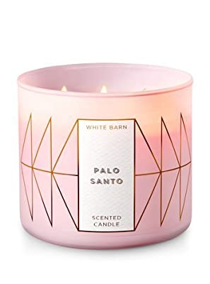Bath and Body Works White Barn 3 Wick Scented Candle Palo Santo 14.5 Ounce with Essential Oils