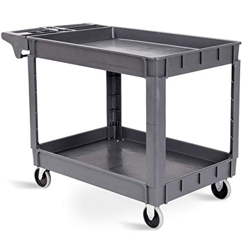 (Goplus Plastic Service Cart Utility Storage Cart for All Purpose 550 LBS Capacity (2 Shelves 46