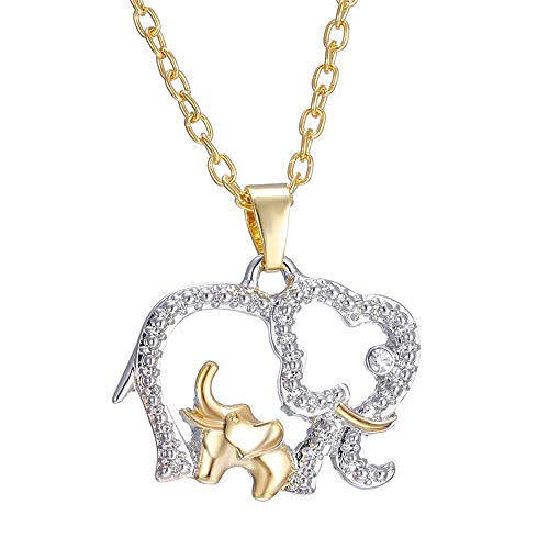 Isijie Jewelry Elephant Pendant Necklace, Two-Tone Animal Wishes Jewelry for Women, Girls,Lucky Symbol,18