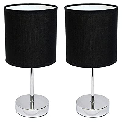 All The Rages LT2007-WHT-2PK Simple Designs Chrome Mini Basic Table Lamp with White Shade