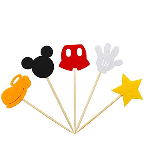 Mickey Mouse Inspired Cupcake Toppers Kids Birthday Party Cake Decoration Supplies -
