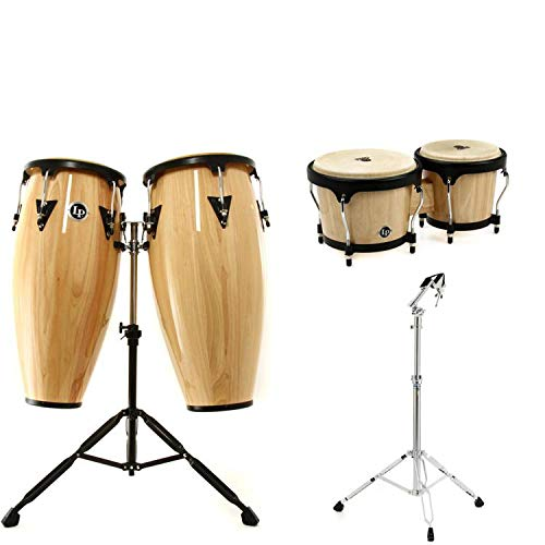 Latin Percussion Aspire Conga Set w/Bongos and Stand - Natural