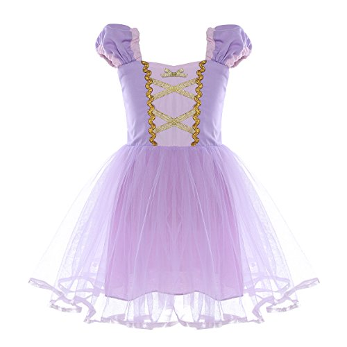 inlzdz Toddler Baby Girls Princess Fairy Tale Halloween Costume Puff Sleeve Tutu Dress Cosplay Costume Lavender 4-5