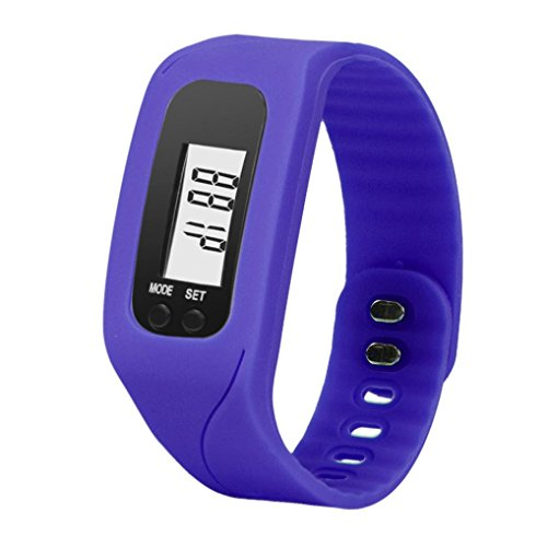 Anboo New Digital LCD Pedometer Run Step Walking Distance Calorie Counter Watch Bracelet (Navy ()