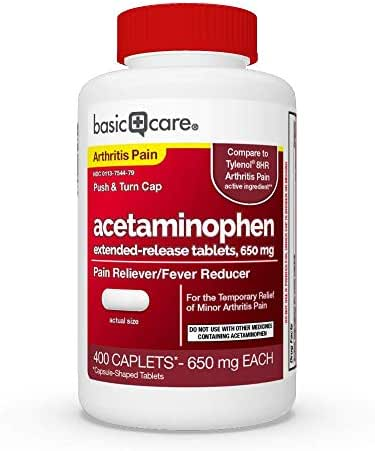 Basic Care Acetaminophen Extended-Release Tablets, 650 mg, Arthritis Pain, 400 Count