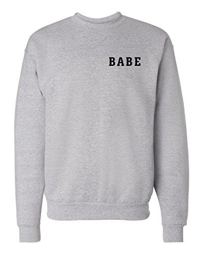 BABE Crewneck Sweatshirt Jumper Pullover, Heather, - Sweatshirt Babe