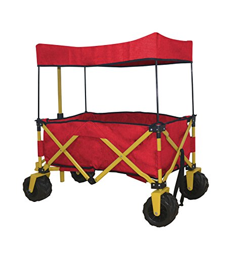 WagonBuddy Compact Folded Jumbo Wheel RED Folding Wagon All Purpose Garden Utility Beach Shopping Travel CART Outdoor Sport Collapsible with Canopy Cover - Easy Setup NO Tool Necessary - Space Saver