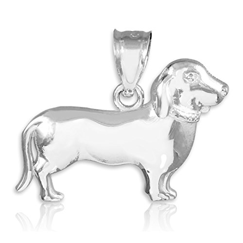 Polished 925 Sterling Silver Weiner Dog Charm Dachshund Pendant ()