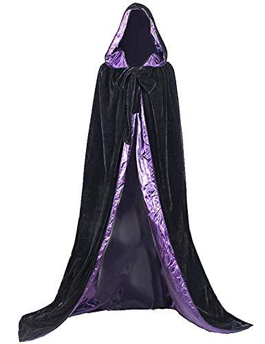 Black Purple Halloween Grim Reaper Hood Cloak Witch Medieval Cape Robe Cosplay Costumes