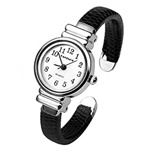 Top Plaza Girls Casual Chic Simple Arabic Numeral Bangle Cuff Watch for Small Wrist,Birthday Gift,Black