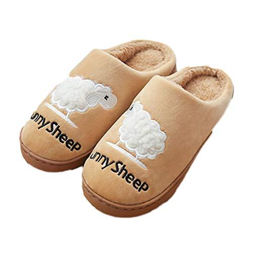 Pantoffeln AMINSHAP Slippers Indoor Herren Herbst und Winter Rutschfeste Dicke Boden Hause Paar Winter warme Tasche mit Schuhen (Farbe : Gray, größe : 43-44EU) Brown