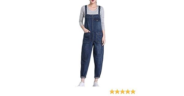 Cromoncent Womens Plus Size Pocket Bib Wide Leg Denim Jumper Overalls Dark Blue M