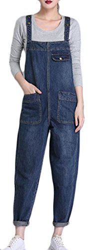 Blue Denim Jumper - Cromoncent Women's Plus Size Baggy Bib Harem Pant Denim Jumper Overalls Blue XL
