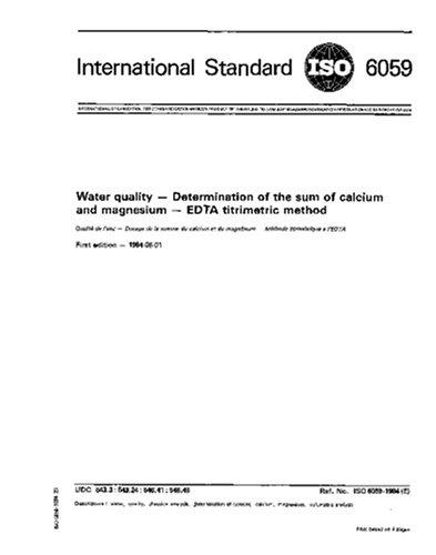ISO 6059:1984, Water quality - Determination of the sum of calcium and magnesium - EDTA titrimetric method