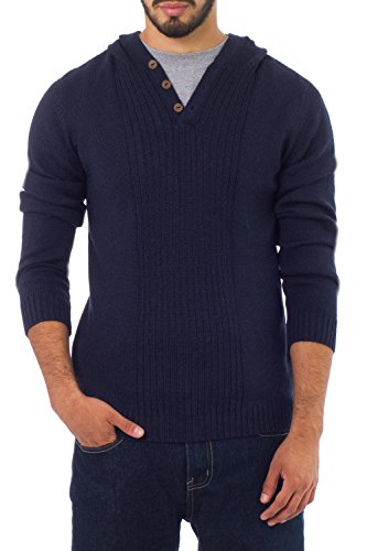 NOVICA Navy Men's Alpaca Wool Pullover Sweater, 'Midnight Blue'
