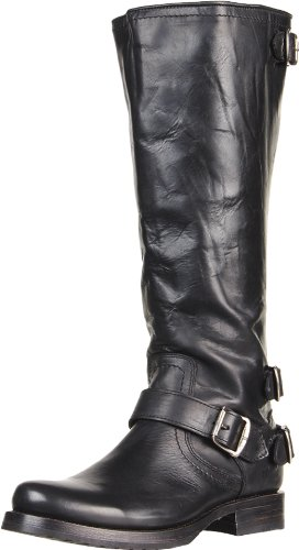 FRYE Womens Veronica Back-Zip Boot Black Soft Vintage Leather-79707