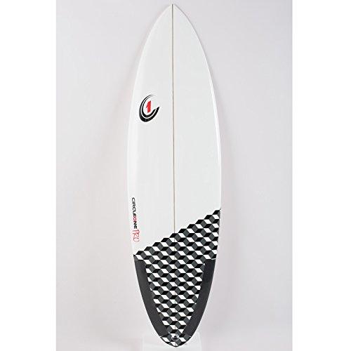 CIRCLE ONE 6ft 15,2cm Pro Carbon Surfbrett–Round Tail Shortboard–Hochglanz-Finish Weiß glänzend