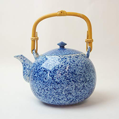 Okura Ceramics Japanese Ceramic Kyusu Teapot Dobin with Stainless Steel Strainer 800ml - Blue Sometsuke 6097553S1