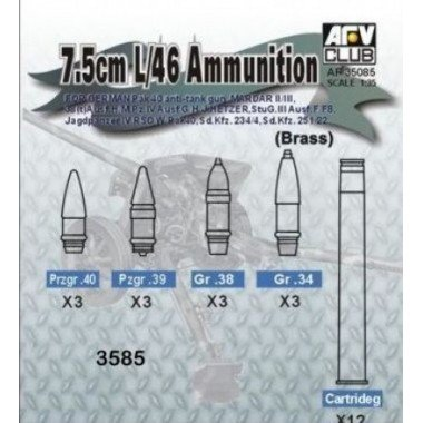 (7.5cm L/46 Ammunition for German Pak 40 Anti-Tank Gun 1-35 AFV Club)