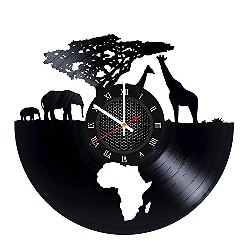 Art League House Vinyl Clock Africa - Safari Animals Vinyl Record Wall Clock - South African Animal Figurines Handmade Decor for Home (Roman Numerals) (Winter Animal Art)