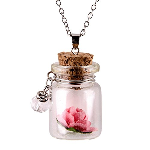 FimKaul Women Fashion Gift Glow in the Dark Flower Glass Tiny Wishing Bottle Vial Necklace Pendant Chain (Pink, alloy)