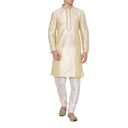 - Royal Men's Silk Blend festive Neck Garland Embroidery Kurta Pyjama Set (38, Gold)