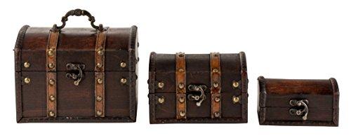 Juvale Antique Wooden Treasure Box Set - 3-Piece Keepsake Boxes, Vintage Antique Storage Trunk, Decorative Medieval Chest Organizer Home, Assorted ()