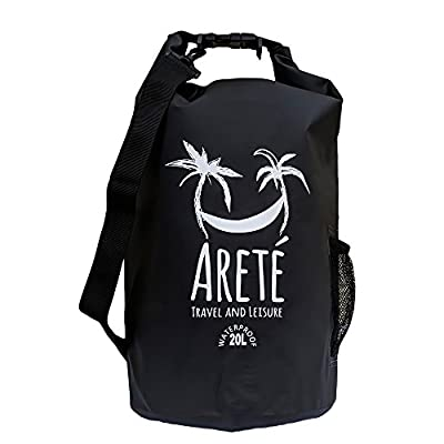 Arete Travel and Leisure Waterproof Dry Bag (20L) - Guaranteed to Keep Valuables Safe and Dry with Stiffening Blade/Edge Sealing Technology - Includes Water Bottle/Beverage Pouch