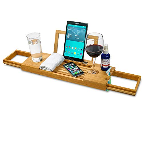 ZAFUU Bamboo Bathtub Caddy Tray with Extending Slides - 100% Natural Wood Bath Tray with Book or Tablet Holder and Wine Glass Slot - Home Spa Bathroom Organizer.
