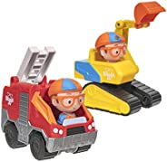 Blippi Mini Vehicles, Including Excavator and Fire Truck, Each with a Character Toy Figure Seated Inside - Zoo