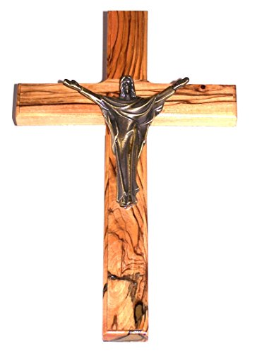 Risen Christ Cross - Olive wood with Bronze with Risen Christ - 10 (Christ Wood Cross)