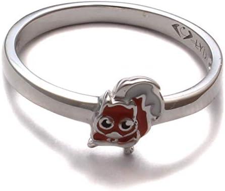 Kinderring Eichhörnchen lustig, 925 Sterling Silber, Kinder Ring nickelfrei, Kinderschmuck Zoo kawaii, Kinder Schmuck Tier